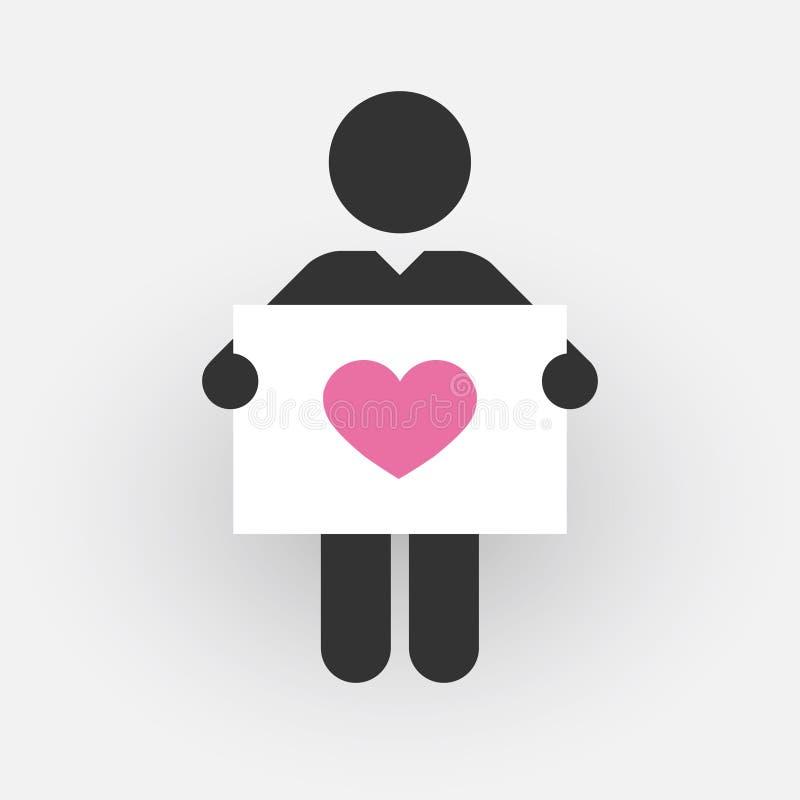 Silueta de un hombre con una muestra con el corazón rosado libre illustration