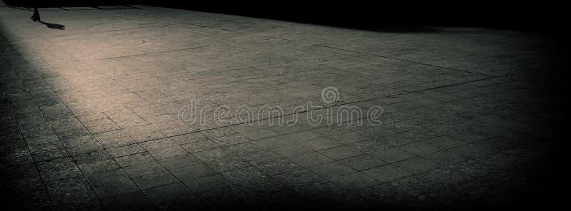 Silueta de un hombre en pcteres de ruedas en la acera Bandera del Web foto de archivo libre de regalías