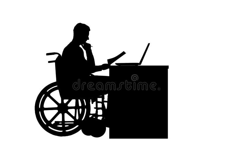 Silueta de un hombre un hombre de negocios inhabilitado en una silla de ruedas que se sienta en una tabla stock de ilustración