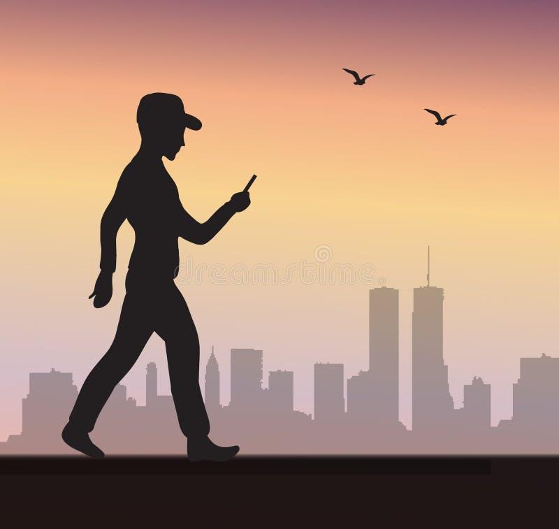 Silueta de un hombre que lleva a cabo las manos de un teléfono móvil, juegos el juego Ilustración del vector stock de ilustración