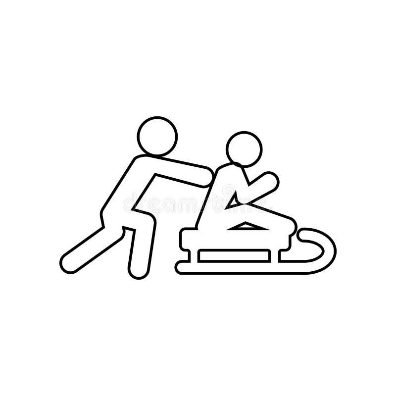 silueta de un hombre que monta un icono del trineo Elemento del invierno para el concepto y el icono m?viles de los apps de la we libre illustration
