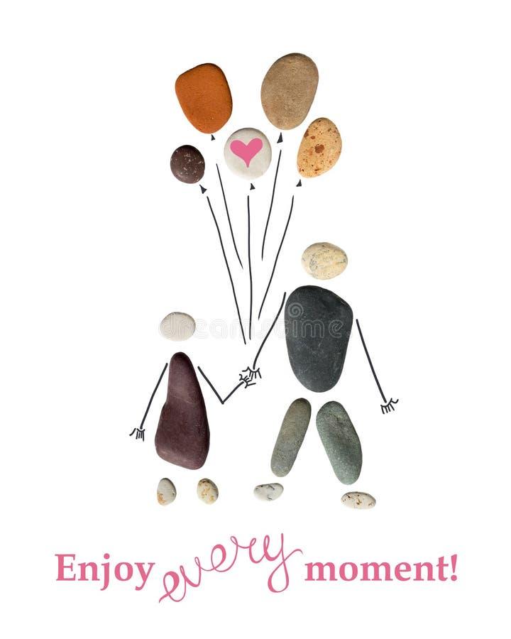 Silueta de un hombre y de una mujer que sostienen los globos de piedras ¡La inscripción debajo del ` disfruta de cada momento! `  stock de ilustración