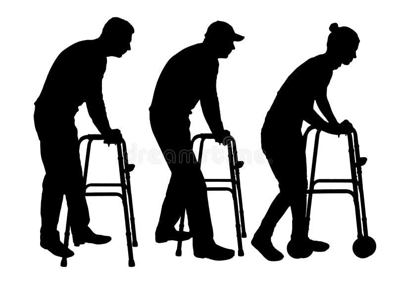 Silueta de un hombre y de una mujer discapacitados que caminan, usando un caminante stock de ilustración