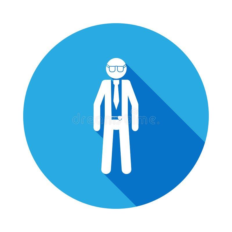 silueta de un icono del agente de policía con la sombra larga Icono del elemento de servicios especiales Muestras de las profesio libre illustration
