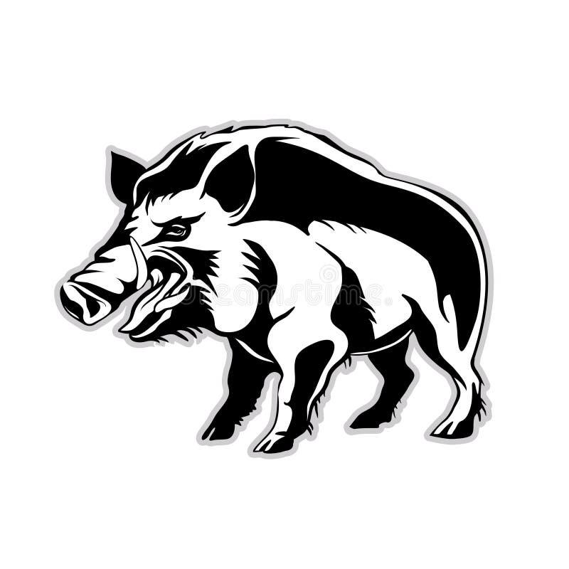 Silueta de un jabalí, un cerdo salvaje stock de ilustración