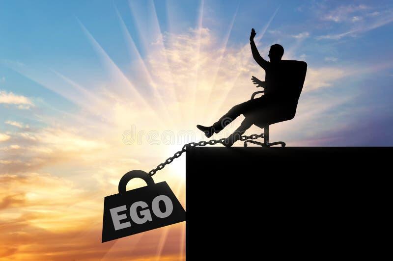 Silueta de un jefe egoísta que se sienta en una silla y una carga pesada del ego, tirando de él en el abismo fotos de archivo libres de regalías