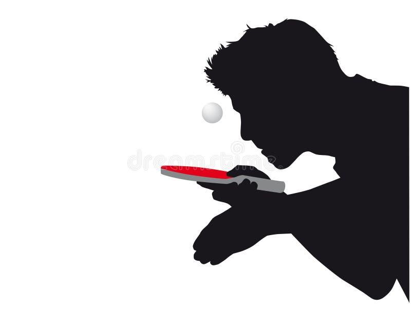 Silueta de un jugador de tenis de mesa con la estafa y la bola rojas libre illustration