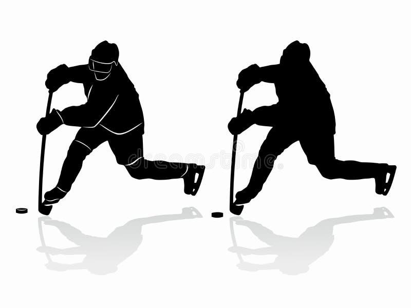 Silueta de un jugador del hockey sobre hielo Gráfico del vector ilustración del vector