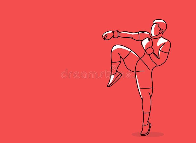 Silueta de un karateka que hace retroceso lateral derecho libre illustration