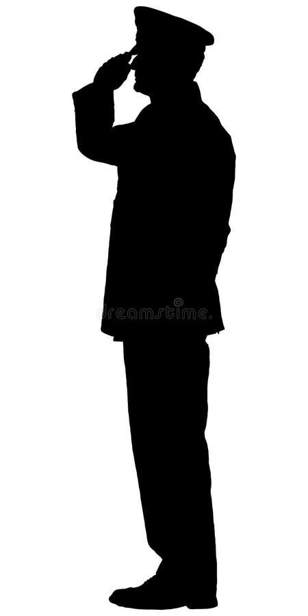 Silueta de un oficial saludado stock de ilustración