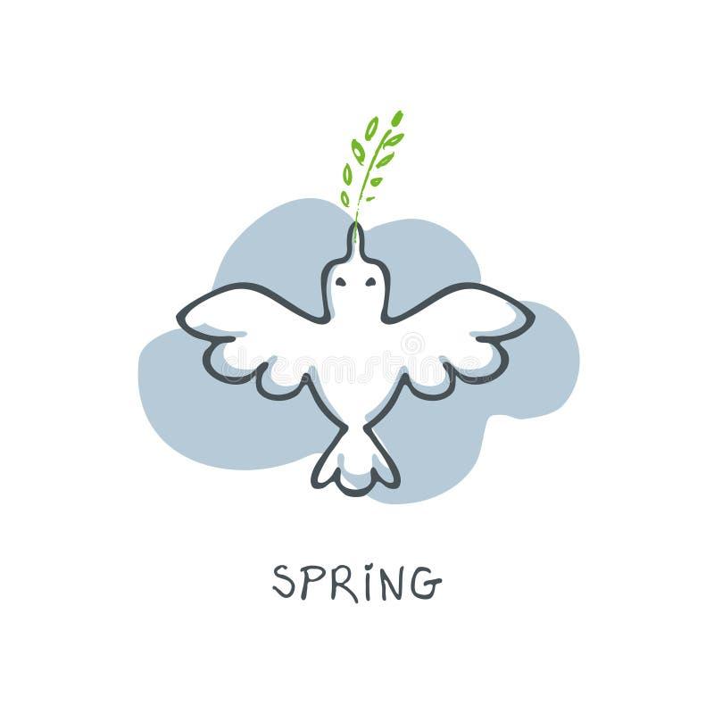 Silueta de un pájaro blanco con una puntilla en su pico contra la perspectiva de una línea ejemplo de la nube ilustración del vector