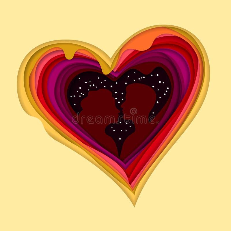 Silueta de un par cariñoso en un fondo de corazones Corte colorido del papel acodado Arte de la capa Ilusión de la profundidad libre illustration