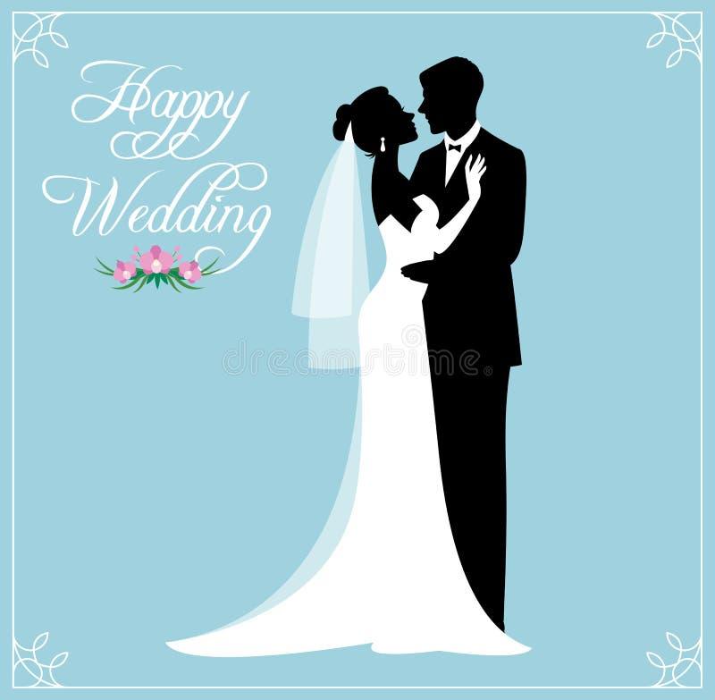 Silueta de un par cariñoso de los recienes casados novio y novia adentro nosotros ilustración del vector