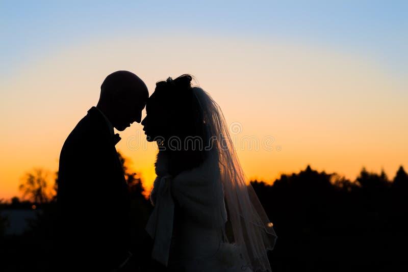 Silueta de un par del recién casado imagen de archivo