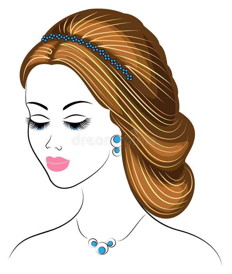Silueta de un perfil de la cabeza de una se?ora dulce La muchacha muestra un peinado femenino en el pelo medio y largo Convenient ilustración del vector