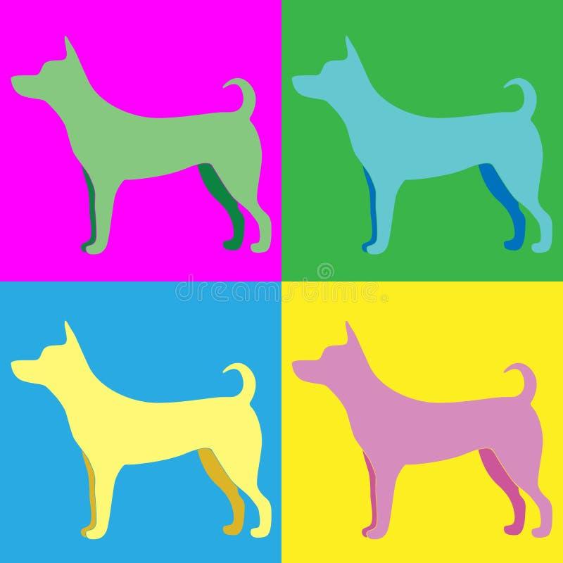 Silueta de un perro en el estilo del arte pop en rosado, azul, yello ilustración del vector