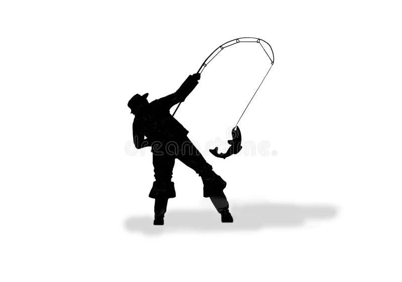 Silueta de un pescador en un blanco libre illustration