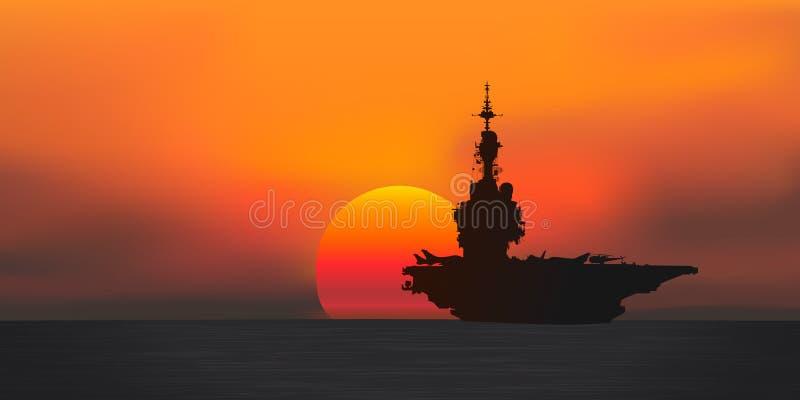 Silueta de un portador plano en la puesta del sol stock de ilustración