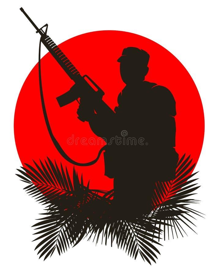 Silueta de un soldado ilustración del vector