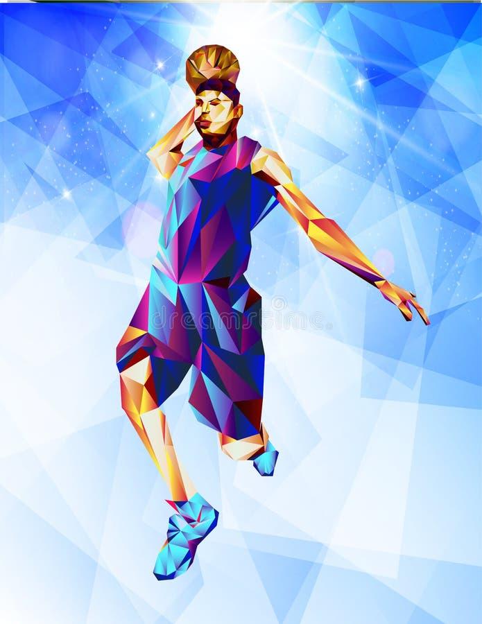 Silueta de una bola del baloncesto Los puntos, las líneas, los triángulos, el texto, los efectos y el fondo en capas separadas, c stock de ilustración