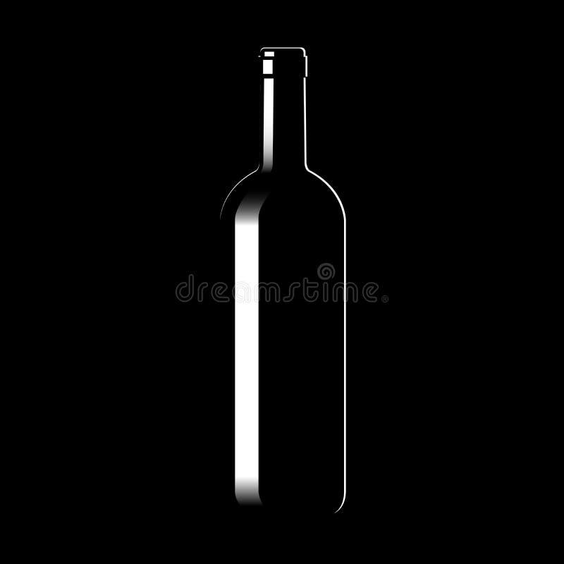 Silueta de una botella de vino de cristal ilustración del vector