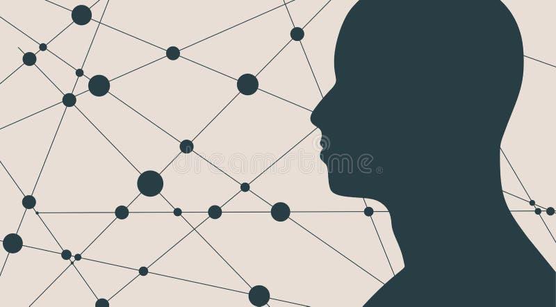 Silueta de una cabeza del ` s del hombre stock de ilustración