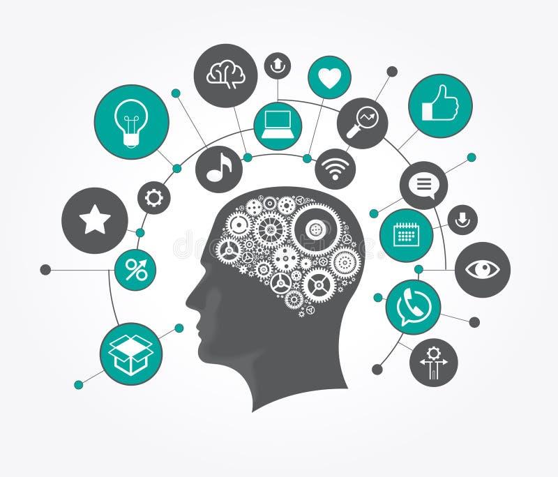 Silueta de una cabeza del ` s del hombre con los engranajes en la forma de un cerebro rodeado por los iconos ilustración del vector
