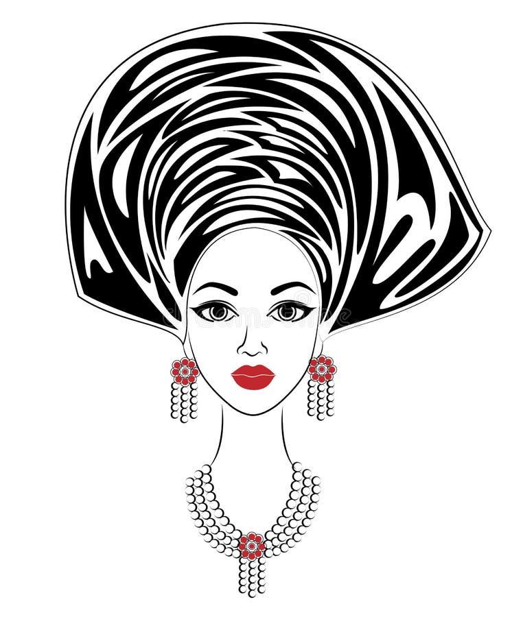 Silueta de una cabeza de una señora dulce Un mantón brillante y un turbante se atan en la cabeza de una muchacha afroamericana La stock de ilustración