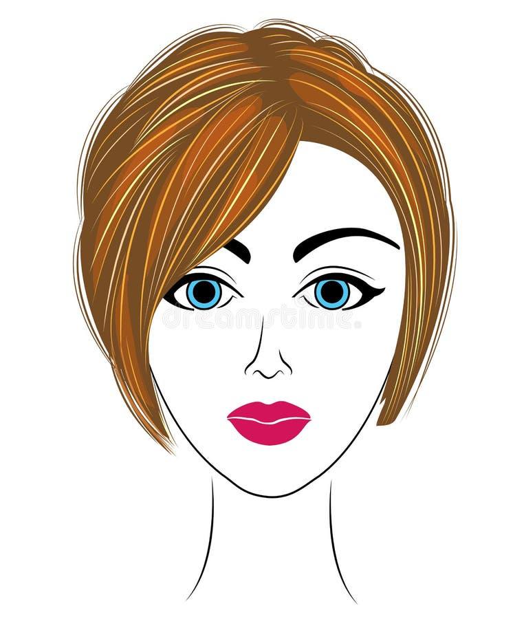 Silueta de una cabeza de una se?ora dulce La muchacha demuestra su pelo, corta su pelo corto La mujer es hermosa y elegante libre illustration