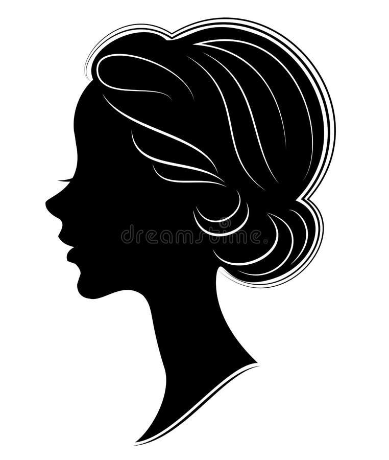 Silueta de una cabeza de una se?ora dulce La muchacha muestra un peinado griego para el pelo largo y medio La mujer es hermosa y libre illustration