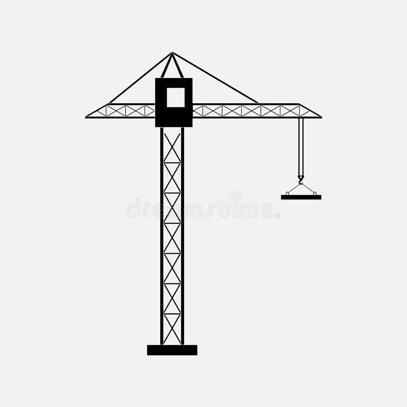 Silueta de una grúa de construcción, grúa stock de ilustración