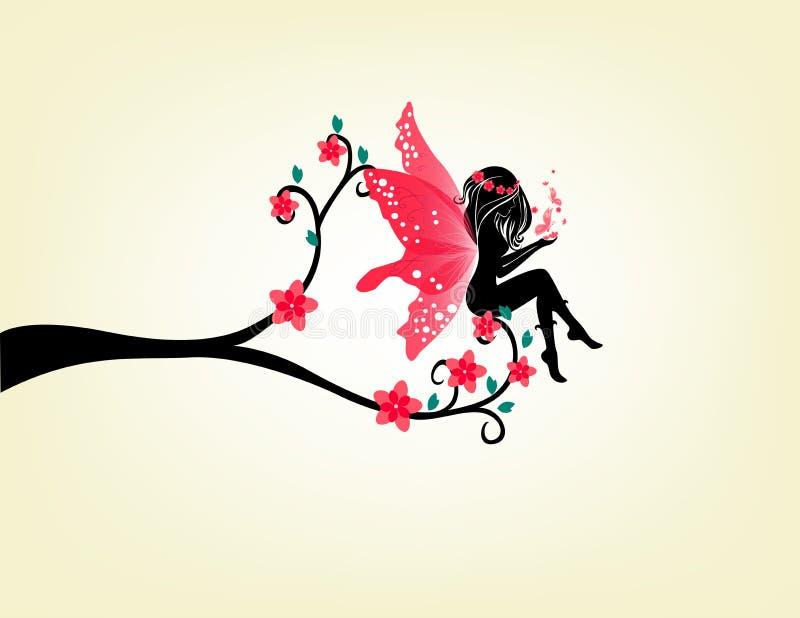 Silueta de una hada y de un árbol libre illustration