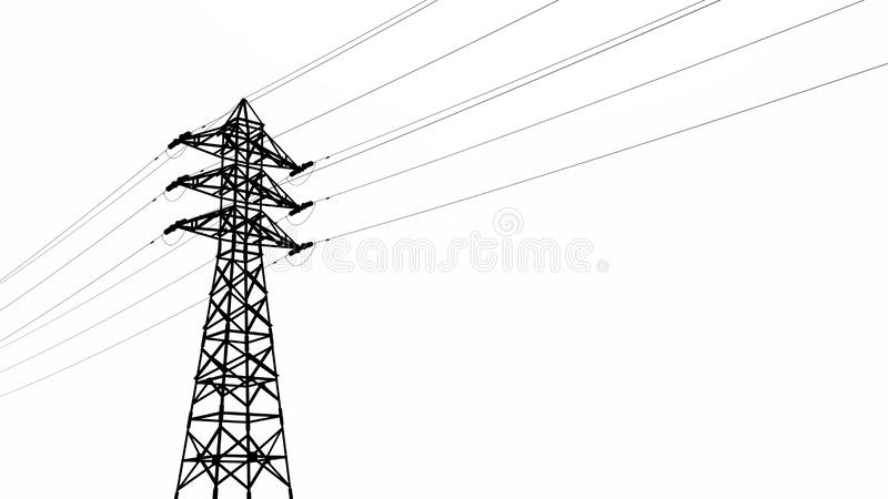 Silueta de una línea eléctrica de arriba stock de ilustración