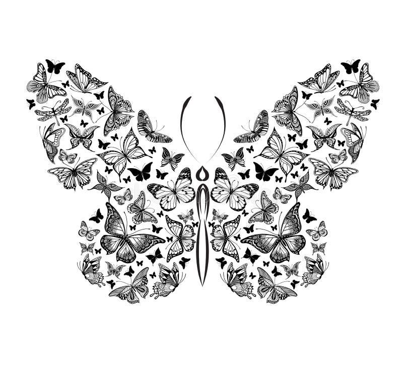Silueta de una mariposa hecha de pequeñas mariposas, ejemplo gráfico stock de ilustración