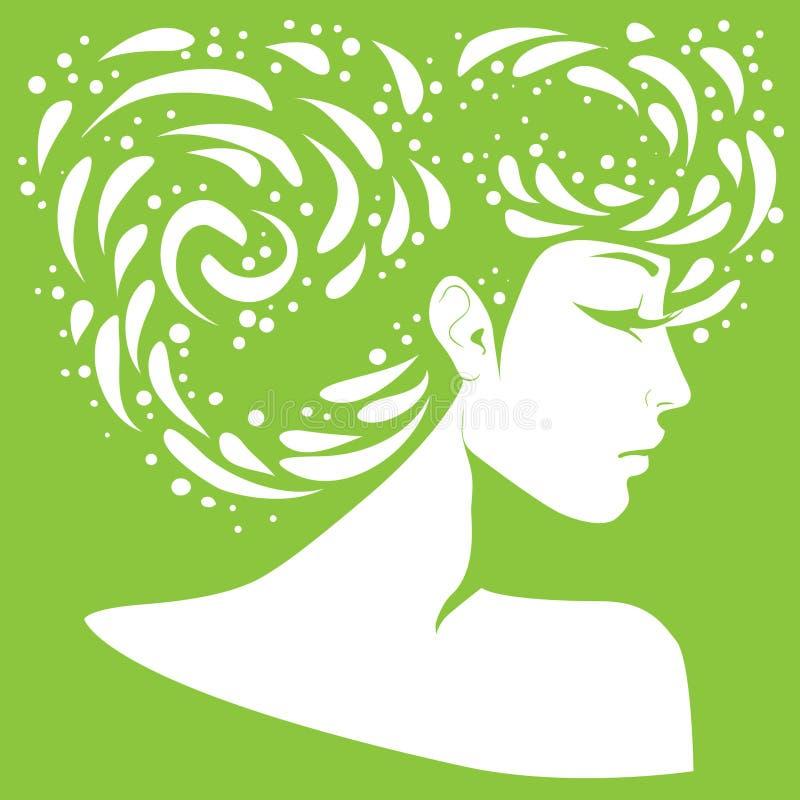 Silueta de una muchacha con el peinado original libre illustration