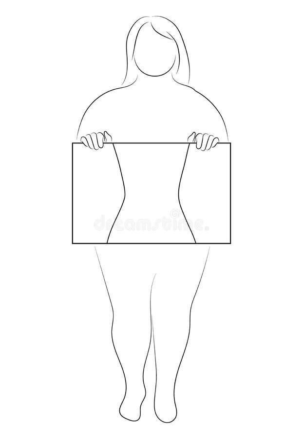 Silueta de una muchacha delgada con un marco para el texto Esquema linear de una mujer con un tablero Dibujo blanco y negro ilustración del vector