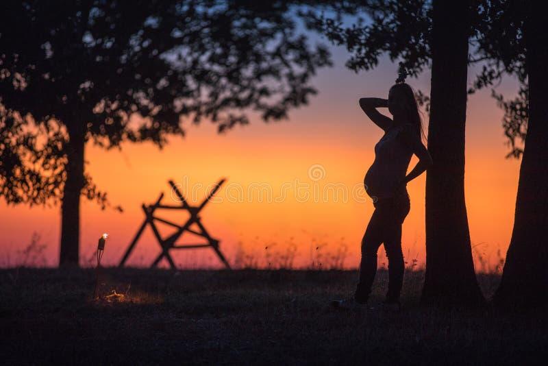 Silueta de una muchacha embarazada en un campo en la puesta del sol foto de archivo libre de regalías