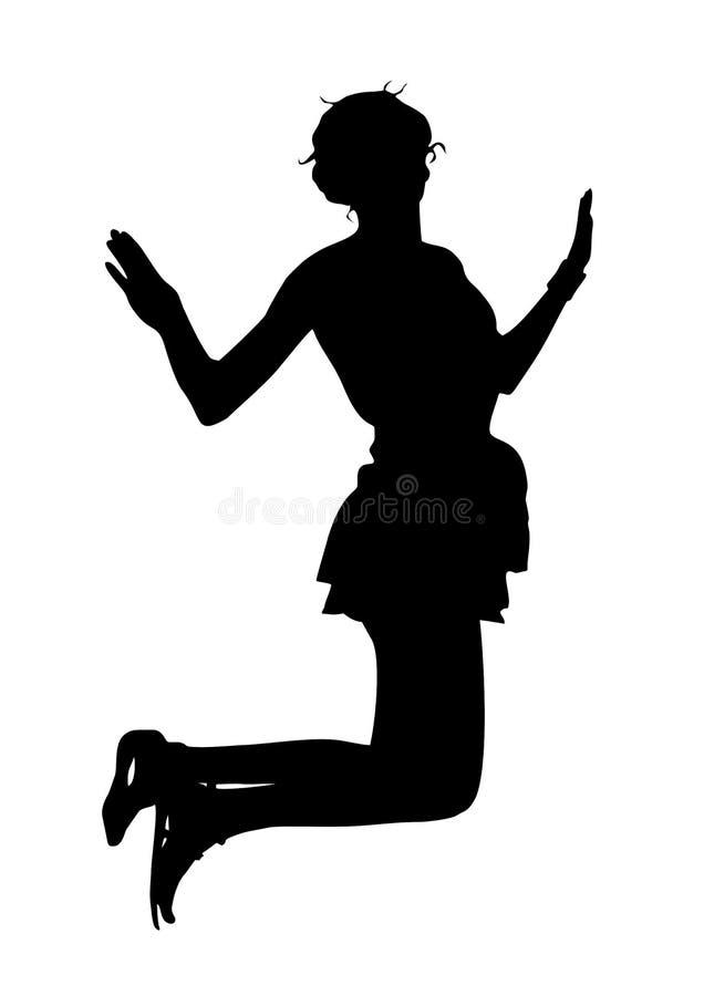 Silueta de una muchacha flaca delgada joven que se está divirtiendo que salta para arriba ilustración del vector