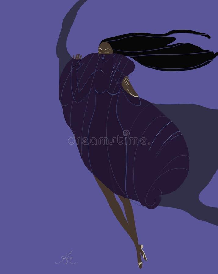Silueta de una muchacha hermosa en un vestido que agita en el viento libre illustration
