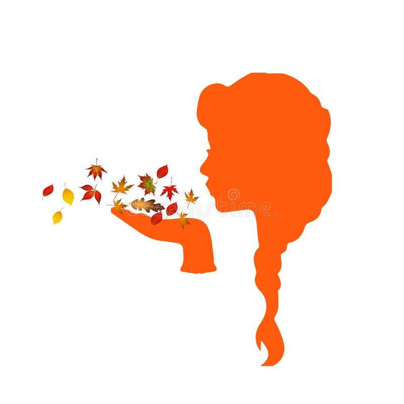 Silueta de una muchacha que sopla en las hojas de otoño stock de ilustración