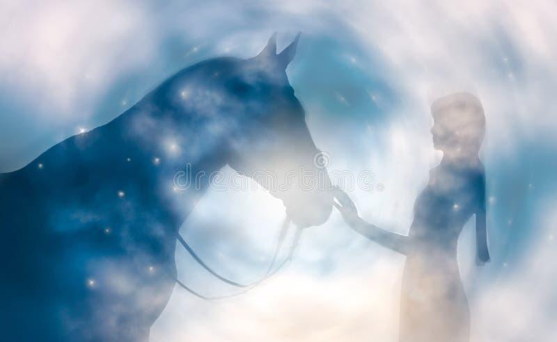 Silueta de una muchacha y de un caballo en un fondo del cielo stock de ilustración