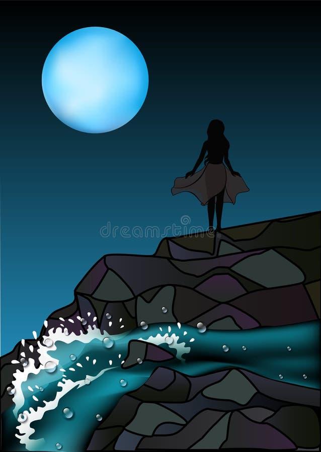 Silueta de una mujer en una noche iluminada por la luna La muchacha se coloca en las rocas cerca de la cascada Río tempestuoso de stock de ilustración