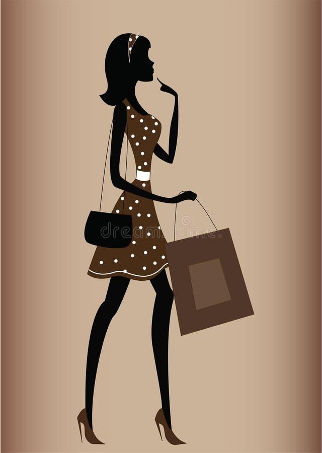 Silueta de una mujer, estilo de la vendimia libre illustration
