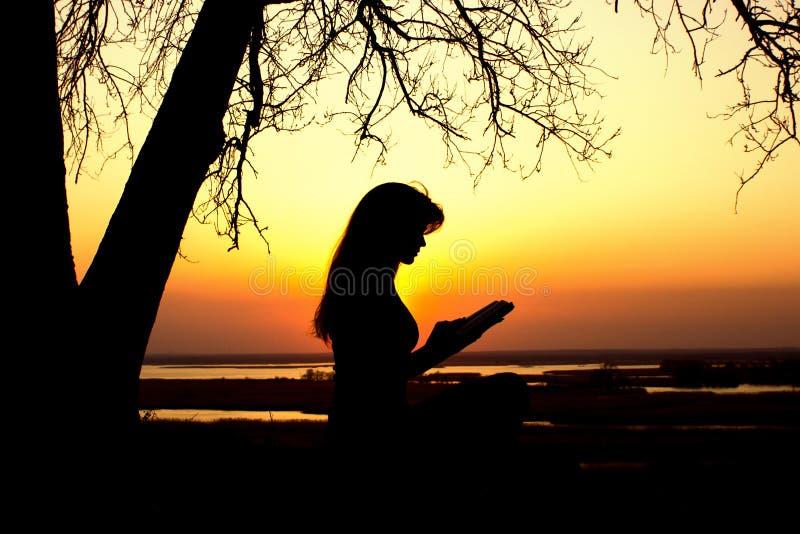 Silueta de una mujer studing la biblia en naturaleza en la puesta del sol, la religión del concepto y la espiritualidad foto de archivo