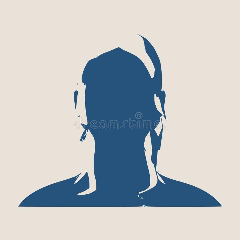 Silueta de una pista femenina Opinión del perfil de la cara stock de ilustración