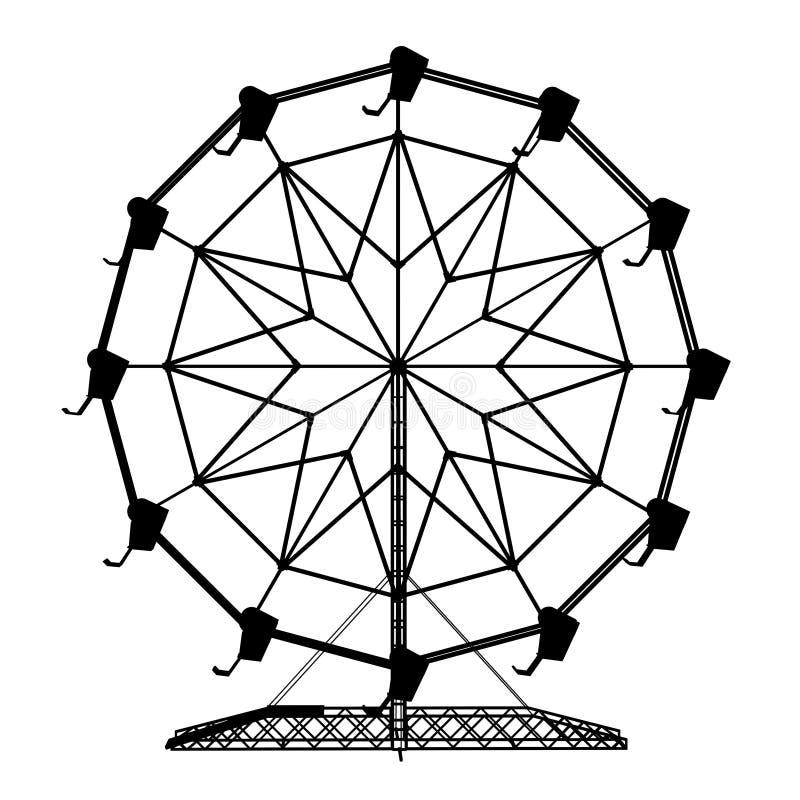 Silueta de una rueda de ferris ilustración del vector