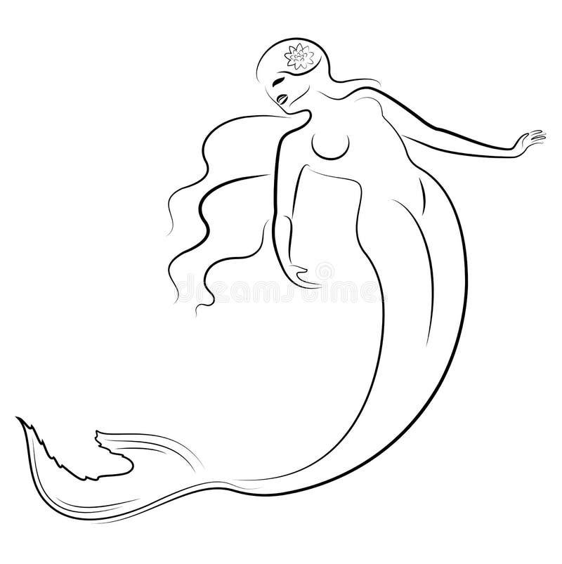 Silueta de una sirena La muchacha hermosa est? flotando en el agua La se?ora es joven y delgada Imagen fantástica de a libre illustration