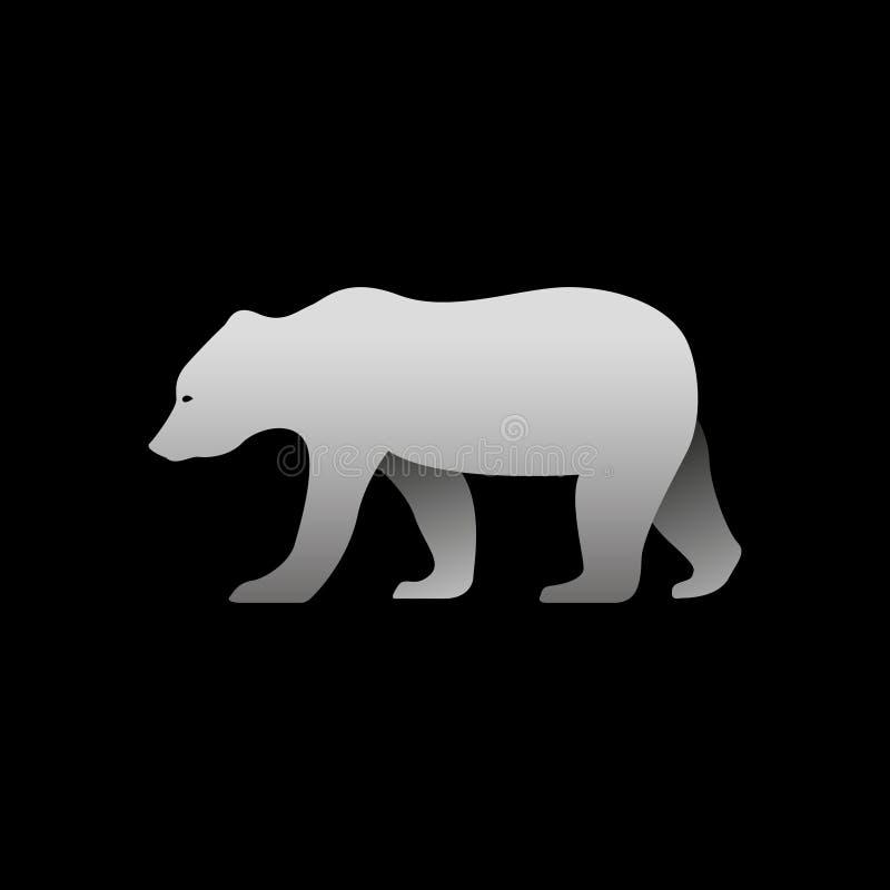 Silueta de una situación gris del oso ilustración del vector