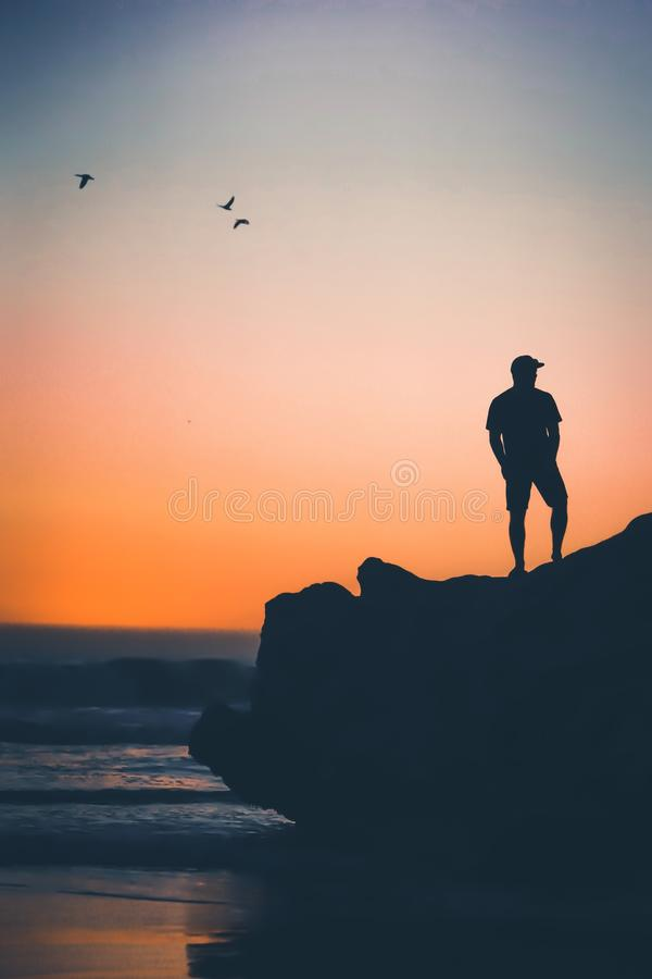 Silueta de una situación masculina en una roca cerca de una playa con el vuelo de los pájaros en la puesta del sol en la playa de fotos de archivo libres de regalías