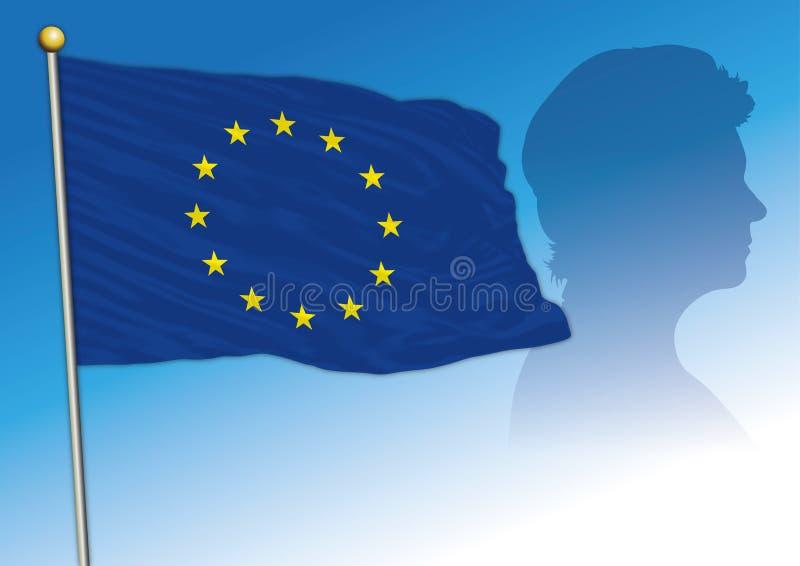 Silueta de Ursula von der Leyen con bandera de la UE ilustración del vector